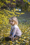 Beautiful little girl. In an autumn park Stock Images