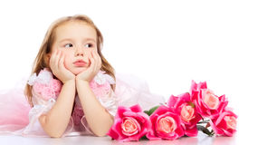 Beautiful Little Girl. With red rose bouquet Stock Photos