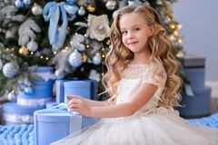 Beautiful little girl in a amazing dress royalty free stock photos
