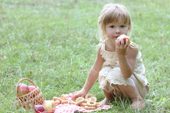 Beautiful little girl with apples on the nature Royalty Free Stock Photo