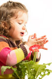 Beautiful little girl arranging flowers in vase Stock Images