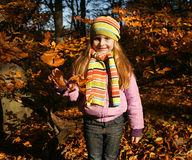 Beautiful  little girl in autumn park Royalty Free Stock Photos