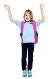 Beautiful little girl with backpack Royalty Free Stock Images