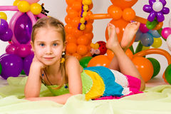 Beautiful little girl in balloon forest Stock Photos