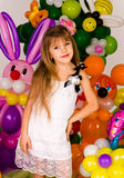 Beautiful little girl in balloon forest Royalty Free Stock Images