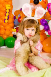 Beautiful little girl in balloon forest Royalty Free Stock Image
