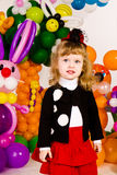 Beautiful little girl in balloon forest Stock Image