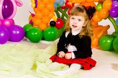 Beautiful little girl in balloon forest Royalty Free Stock Photo