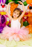 Beautiful little girl in balloon forest Royalty Free Stock Photos