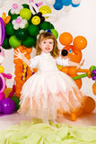 Beautiful little girl in balloon forest Stock Photography
