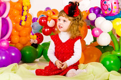 Beautiful little girl in balloon forest Royalty Free Stock Photography