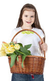Beautiful little girl with a basket of tulips Royalty Free Stock Photos