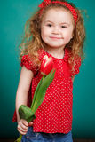 Beautiful little girl with a big bouquet of tulips. Stock Photography
