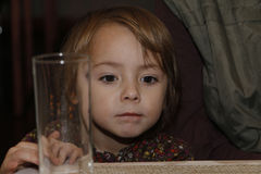 Beautiful little girl with big brown eyes Stock Photos