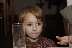 Beautiful little girl with big brown eyes Royalty Free Stock Photography