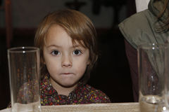 Beautiful little girl with big brown eyes Stock Photo