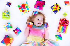 Beautiful little girl with birthday presents Royalty Free Stock Photo