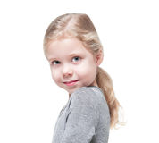 Beautiful little girl with blond hair isolated Stock Photos