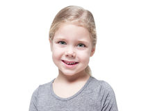 Beautiful little girl with blond hair isolated. Over white background Royalty Free Stock Photo