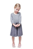 Beautiful little girl with blond hair isolated Royalty Free Stock Images