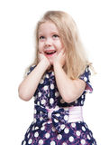 Beautiful little girl with blond hair surprised isolated Royalty Free Stock Photography