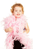 Beautiful little girl with boa Stock Photo