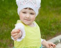 Beautiful little girl with camomiles Royalty Free Stock Images