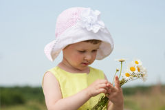 Beautiful little girl with  camomiles Royalty Free Stock Photo