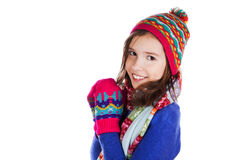 Beautiful little girl in cap and scarf Royalty Free Stock Photos