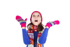 Beautiful little girl in cap and scarf Stock Images