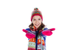Beautiful little girl in cap and scarf Stock Image