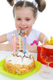 Beautiful little girl celebrates birthday Stock Images