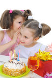 Beautiful little girl celebrates birthday Royalty Free Stock Photos