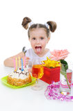 Beautiful little girl celebrates birthday Stock Photos