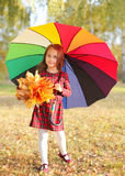 Beautiful little girl child and colorful umbrella in autumn Stock Image