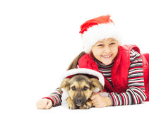 Beautiful little girl in Christmas clothes stock photos