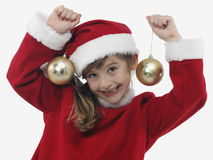 Beautiful little girl with christmas decoration Stock Photo