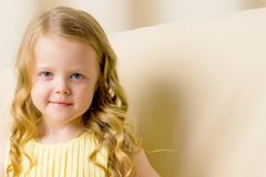 Portrait of a little girl close-up. Beautiful little girl close-up. The concept of beauty and fashion, happy childhood Royalty Free Stock Photography