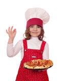 Little girl cook with pizza Royalty Free Stock Image