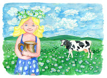Beautiful little girl and cow on the grass field. Vintage rural background with summer landscape, watercolor illustration with design graphic elements Royalty Free Stock Images