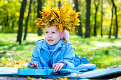 Beautiful little girl with crown Stock Photography