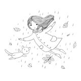 Beautiful little girl and a cute cartoon cat flying with autumn leaves. Stock Images