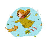 Beautiful little girl and a cute cartoon cat flying with autumn leaves. Royalty Free Stock Photos