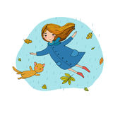 Beautiful little girl and a cute cartoon cat flying with autumn leaves. stock illustration