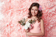 Beautiful little girl in cute dress with flower Royalty Free Stock Photography