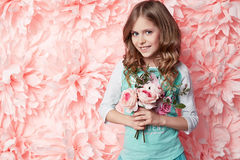 Beautiful little girl in cute dress with flower Royalty Free Stock Photos