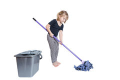 Beautiful Little Girl Doing Spring Cleaning with Mop and Bucket Stock Images