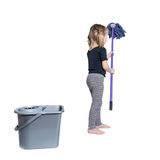 Beautiful Little Girl Doing Spring Cleaning with Mop and Bucket Royalty Free Stock Images