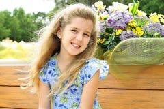 Beautiful little girl in dress stock photo