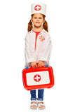 Beautiful little girl dressed like a doctor Stock Images